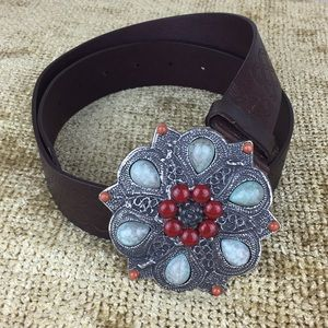 Express - Embellished Buckle Leather Belt